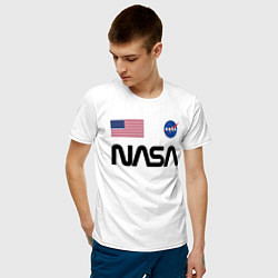 Футболка хлопковая мужская NASA НАСА цвета белый — фото 2