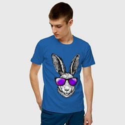 Мужская хлопковая футболка с принтом Клевый заяц, цвет: синий, артикул: 10209645500001 — фото 2