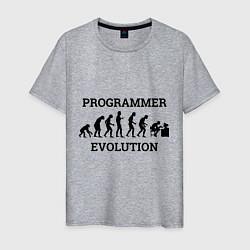 Футболка хлопковая мужская Эволюция программиста цвета меланж — фото 1