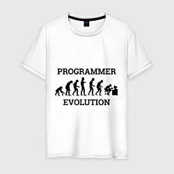 Футболка хлопковая мужская Эволюция программиста цвета белый — фото 1