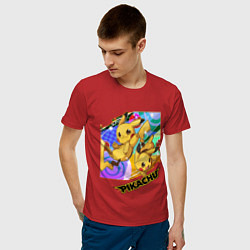 Мужская хлопковая футболка с принтом Pikachu, цвет: красный, артикул: 10211950500001 — фото 2