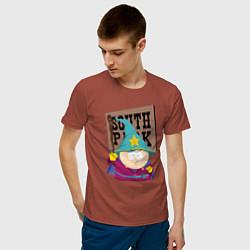 Футболка хлопковая мужская ЮЖНЫЙ ПАРК цвета кирпичный — фото 2