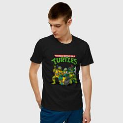 Мужская хлопковая футболка с принтом Черепашки-ниндзя, цвет: черный, артикул: 10214797900001 — фото 2