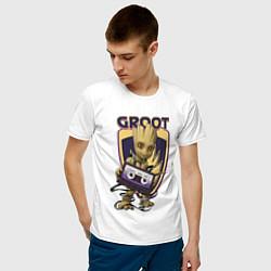 Мужская хлопковая футболка с принтом Groot, цвет: белый, артикул: 10216650500001 — фото 2