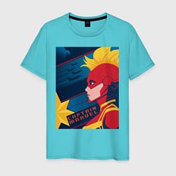 Футболка хлопковая мужская Капитан Марвел Мстители цвета бирюзовый — фото 1