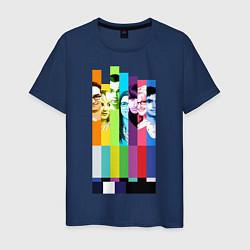 Футболка хлопковая мужская Big Bang Theory collage цвета тёмно-синий — фото 1