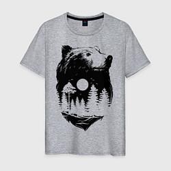 Футболка хлопковая мужская Bear цвета меланж — фото 1