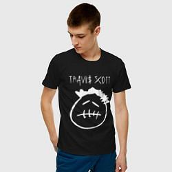 Мужская хлопковая футболка с принтом TRAVIS SCOTT, цвет: черный, артикул: 10220189700001 — фото 2