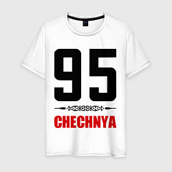 Футболка хлопковая мужская 95 Chechnya цвета белый — фото 1