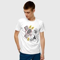 Футболка хлопковая мужская Дональд Дак каратист цвета белый — фото 2