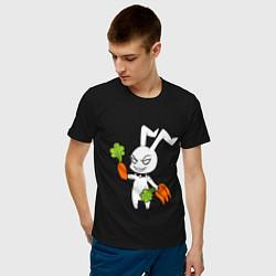 Футболка хлопковая мужская Злой заяц цвета черный — фото 2