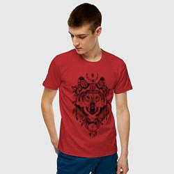 Футболка хлопковая мужская Татемный волк цвета красный — фото 2