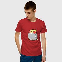 Мужская хлопковая футболка с принтом Пухлый попугайчик, цвет: красный, артикул: 10253468100001 — фото 2