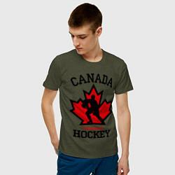 Мужская хлопковая футболка с принтом Canada Hockey, цвет: меланж-хаки, артикул: 10025444700001 — фото 2