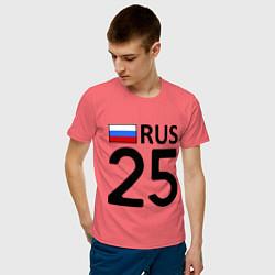 Футболка хлопковая мужская RUS 25 цвета коралловый — фото 2