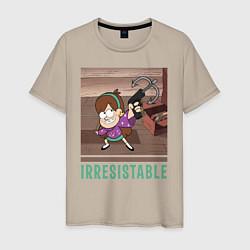 Мужская хлопковая футболка с принтом Мэйбл Пайнс, цвет: миндальный, артикул: 10271762700001 — фото 1
