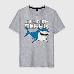 Футболка хлопковая мужская Im A Nice Shark цвета меланж — фото 1