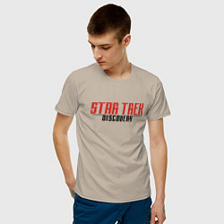 Футболка хлопковая мужская Star Trek Discovery Logo Z цвета миндальный — фото 2