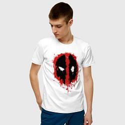Мужская хлопковая футболка с принтом Deadpool logo, цвет: белый, артикул: 10275004700001 — фото 2