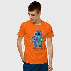 Футболка хлопковая мужская Стич цвета оранжевый — фото 2