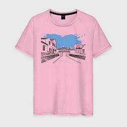 Футболка хлопковая мужская Азиатская улица цвета светло-розовый — фото 1