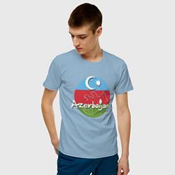 Футболка хлопковая мужская Азербайджан цвета мягкое небо — фото 2
