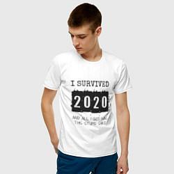 Футболка хлопковая мужская 2020 - я выжил цвета белый — фото 2