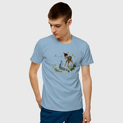 Футболка хлопковая мужская Bambi цвета мягкое небо — фото 2