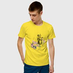 Футболка хлопковая мужская Flower цвета желтый — фото 2