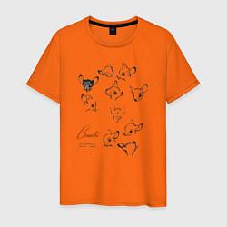 Футболка хлопковая мужская Бэмби цвета оранжевый — фото 1