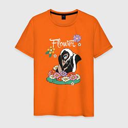 Футболка хлопковая мужская Flower цвета оранжевый — фото 1
