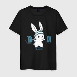 Мужская хлопковая футболка с принтом Физкульт - привет!, цвет: черный, артикул: 10277753700001 — фото 1