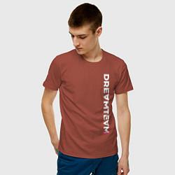 Футболка хлопковая мужская DreamTeam цвета кирпичный — фото 2