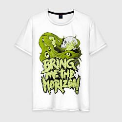 Мужская хлопковая футболка с принтом Bring Me the Horizon, цвет: белый, артикул: 10027946100001 — фото 1