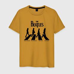 Футболка хлопковая мужская The Beatles цвета горчичный — фото 1