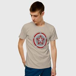Футболка хлопковая мужская Red Guardian цвета миндальный — фото 2