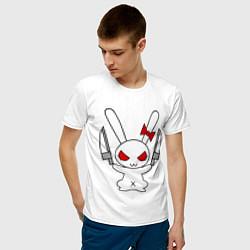 Мужская хлопковая футболка с принтом Зайка с ножами, цвет: белый, артикул: 10029116400001 — фото 2