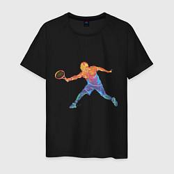 Футболка хлопковая мужская Tennis player - man цвета черный — фото 1