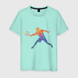 Футболка хлопковая мужская Tennis player - man цвета мятный — фото 1