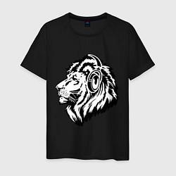 Футболка хлопковая мужская Лев в наушниках цвета черный — фото 1