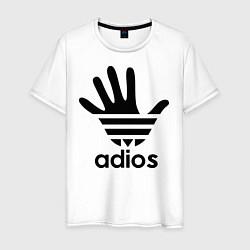 Футболка хлопковая мужская Adios цвета белый — фото 1