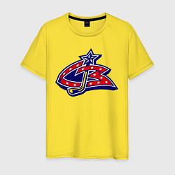 Мужская хлопковая футболка с принтом HC Columbus Blue Jackets, цвет: желтый, артикул: 10043950200001 — фото 1