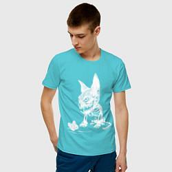Футболка хлопковая мужская Скелет кота цвета бирюзовый — фото 2