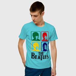 Футболка хлопковая мужская The Beatles: Colors цвета бирюзовый — фото 2
