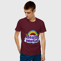 Футболка хлопковая мужская Death Metal: Rainbow цвета меланж-бордовый — фото 2