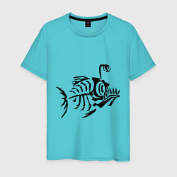 Футболка хлопковая мужская Скелет глубоководной рыбы цвета бирюзовый — фото 1