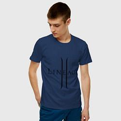 Футболка хлопковая мужская Lineage logo цвета тёмно-синий — фото 2