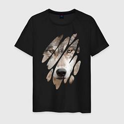 Футболка хлопковая мужская Волк - моё второе Я цвета черный — фото 1