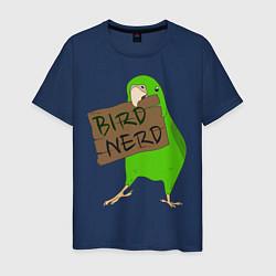 Мужская хлопковая футболка с принтом Bird Nerd, цвет: тёмно-синий, артикул: 10049549100001 — фото 1