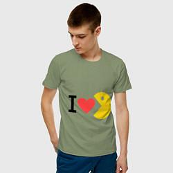 Футболка хлопковая мужская I love Packman цвета авокадо — фото 2